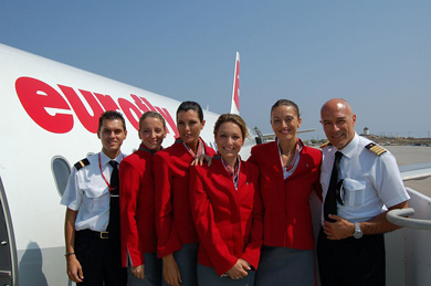 Uniforms stewardess: Eurofly. Italy.