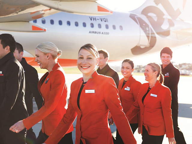 Uniforms stewardess: Jetstar Airways. Australia.