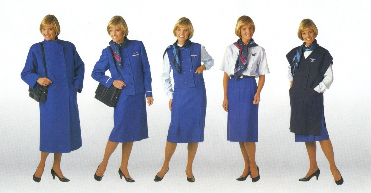 Uniforms of flight attendants: KLM. Netherlands.