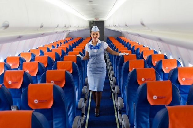 The stewardess on the plane
