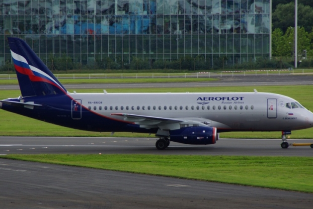 The aircraft SSJ-100 Aeroflot