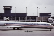 Uniforms of flight attendants: Jet America Airlines. USA.