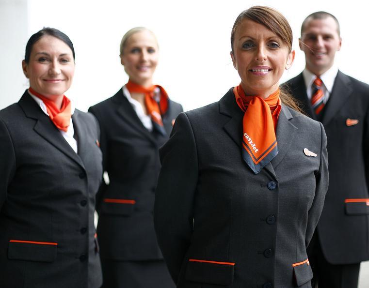 Uniforms stewardess: easyJet. United Kingdom.