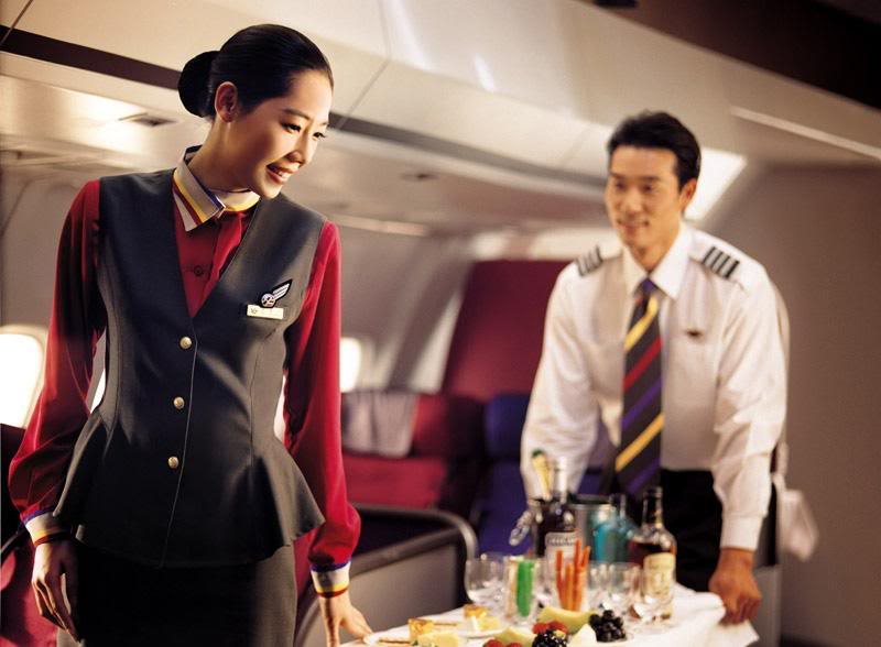 Asiana Airlines airline stewardess serving