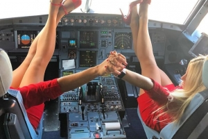 stewardesses embrace