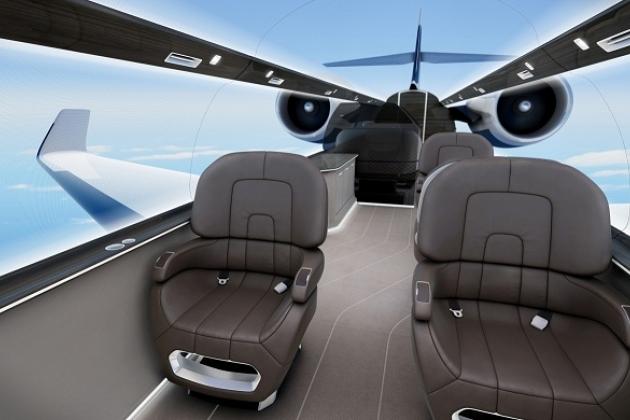 Ixion avión con un techo transparente y sin ventanas